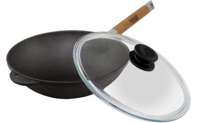 Wok Bratpfanne 26cm 3L aus Gusseisen mit Glasdeckel und abnehmbaren Griff