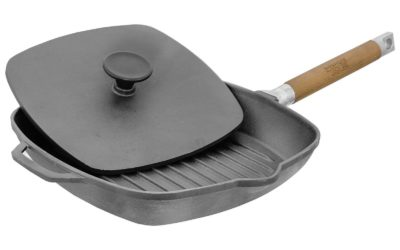 24cm Grill-Bratpfanne aus Gusseisen mit abnehmbarem Griff und Pressdeckel