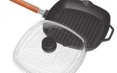 Grill-Bratpfanne aus Gusseisen 26cm mit abnehmbarem Griff und Glasdeckel