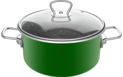 4 L Emaillierter Topf Grün  Suppe