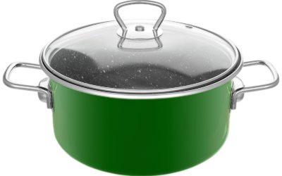 2 L Emaillierter Topf Grün Suppe