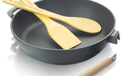 Emaillierte Gusseisen-Bratpfanne 28cm Tief mit abnehmbarem Griff + Pfannenwender + Kochlöffel