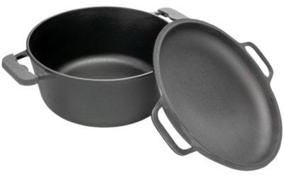 Kochtopf aus Gusseisen 3L + Deckel-Bratpfanne